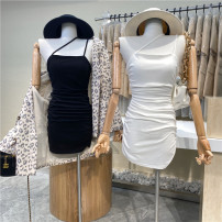 Dress Spring 2021 White, black Average size Mid length dress singleton  Sleeveless commute High waist Solid color Socket One pace skirt 18-24 years old Type A First Sight 31% (inclusive) - 50% (inclusive)