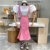Dress Summer 2021 Pink, white, black S,M,L Mid length dress singleton  Sleeveless commute High waist Solid color zipper A-line skirt camisole 18-24 years old Type A First Sight 31% (inclusive) - 50% (inclusive)