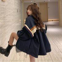 Windbreaker Autumn 2020 S,M,L,XL Khaki, dark blue Long sleeves routine commute zipper Hood routine stripe Korean version Other / other 18-24 years old zipper