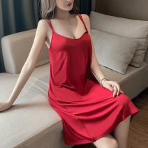 Nightdress Qi Meifang Red, black, light gray, dark gray, watermelon red M [recommended 80-100 kg], l [recommended 100-115 kg], XL [recommended 115-130 kg], XXL [recommended 130-145 kg], [high quality fabric, no pilling, no fading] sexy camisole Leisure home Middle-skirt summer Solid color youth