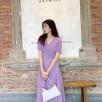 Dress Summer 2021 violet S,M,L longuette singleton  Short sleeve Sweet V-neck High waist Solid color zipper A-line skirt puff sleeve Others 25-29 years old Type A Deng Liuliu Button, zipper, stitching cotton