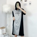 Women's large Korean version routine other tassels Summer 2021 commute singleton  Dress Medium and long term Short sleeve moderate letter Condom Hooded easy 18-24 years old Polyester, polyester Stereoscopic cutting 71% (inclusive) - 80% (inclusive) Medium and long term black