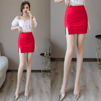 skirt Autumn of 2019 S,M,L,XL,2XL Red [cloth], black [cloth], black [PU leather] Short skirt Versatile High waist skirt Solid color Type O 18-24 years old 31% (inclusive) - 50% (inclusive) Viscose zipper