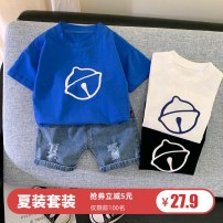 suit Other / other 80cm,90cm,100cm,110cm male summer Korean version Short sleeve + pants 2 pieces Thin money No model Socket nothing Cartoon animation cotton children Expression of love Class A Cotton 95% polyurethane elastic fiber (spandex) 5% Chinese Mainland