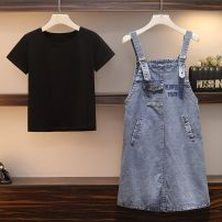 Women's large Summer of 2019 Single denim skirt, black T + denim skirt Big XXL, big XXXL, big XXXXL, big L, big XL Dress Two piece set commute easy moderate Socket Short sleeve letter Korean version Crew neck routine other Three dimensional cutting routine YQM997806B3 Other / other pocket other