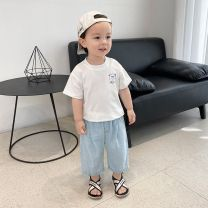 T-shirt White 3.21, blue 90-130 3.21 Other / other 80cm,90cm,100cm,110cm,120cm,130cm male summer Short sleeve Crew neck leisure time There are models in the real shooting nothing Cotton blended fabric Cartoon animation Other 100% X1955
