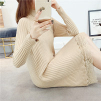 sweater Autumn 2020 Long sleeves Socket Fake two pieces Medium length other 51% (inclusive) - 70% (inclusive) Half high collar thickening commute routine Solid color Self cultivation Fine wool Keep warm and warm Chunya