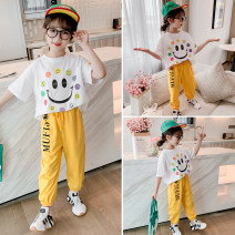suit Other / other Yellow, gray 110cm,120cm,130cm,140cm,150cm,160cm female summer Korean version Short sleeve + pants 2 pieces Thin money There are models in the real shooting Socket nothing other cotton children Expression of love 67-1 smiley face sports suit Class B Cotton 85% polyester 15%