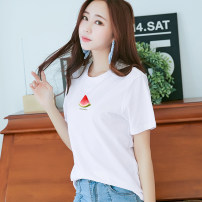 T-shirt White, light purple, green, lotus root, ginger S,M,L,XL,2XL,3XL Summer 2020 Short sleeve Crew neck easy Regular routine commute cotton 96% and above 18-24 years old Korean version youth Summer YS17T121