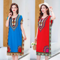 Women's large Summer 2021 blue , red , rose red , green , black , yellow , orange Average [suggestion 100] - 175 kg] Dress singleton  commute easy thin Socket Short sleeve Broken flower , Design and color , Abstract pattern ethnic style Crew neck other printing and dyeing Bat sleeve 35-39 years old