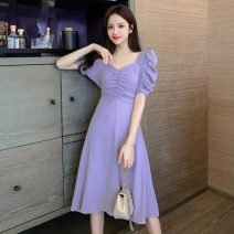 Dress Summer 2021 White, purple, goose yellow S,M,L Mid length dress singleton  Short sleeve commute square neck High waist Solid color Socket A-line skirt puff sleeve Others 18-24 years old Type A Korean version Fold, lace, bow 51% (inclusive) - 70% (inclusive) other other