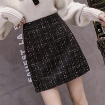 skirt Winter 2020 S,M,L,XL,2XL Picture color Short skirt commute High waist A-line skirt lattice Type A 18-24 years old 51% (inclusive) - 70% (inclusive) Wool other zipper Korean version