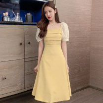 Dress Summer 2021 Green, yellow, black S,M,L,XL Mid length dress singleton  Short sleeve commute square neck High waist Solid color Socket A-line skirt puff sleeve Others 18-24 years old Type A Korean version 51% (inclusive) - 70% (inclusive) other other