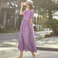 Dress Summer 2020 Stitched purple lattice M, L longuette singleton  Short sleeve commute Crew neck Loose waist lattice Socket Big swing routine Type A Other / other literature YFSJ-L224 71% (inclusive) - 80% (inclusive) hemp