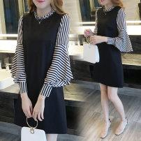 Nursing clothes black M,L,XL,2XL Breast feeding clothes Socket spring and autumn Long sleeves Medium length Korean version Dress stripe Lift up polyester