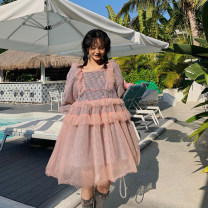 Dress Spring 2021 S,M,L Short skirt Two piece set Long sleeves Sweet One word collar High waist lattice Socket Princess Dress puff sleeve Others Type H Stitching, lace other cotton Ruili