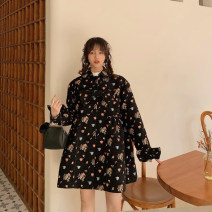 short coat Spring 2021 S,M,L black Long sleeves Medium length routine singleton  easy Sweet routine square neck Buckle Plants and flowers Bow, pocket, tridimensional decoration