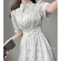 Dress Spring 2021 white S,M,L Mid length dress singleton  Short sleeve commute Polo collar High waist Solid color A-line skirt Type A 71% (inclusive) - 80% (inclusive)