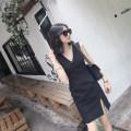 Dress Summer 2016 Black, white XS,S,M,L Short skirt singleton  Sleeveless commute V-neck High waist Solid color Socket Princess Dress Type X Retro More than 95% other
