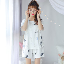 Pajamas / housewear set female Other / other M (weight 75-95) l (weight 95-115) XL (weight 115-135) XXL (weight 135-155) cotton Short sleeve Sweet Leisure home summer Thin money Crew neck Cartoon animation shorts Socket youth 2 pieces rubber string More than 95% Knitted cotton fabric printing