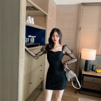 Dress Autumn 2020 Blue, black S,M,L Short skirt singleton  Sleeveless commute One word collar High waist Solid color zipper One pace skirt routine camisole 25-29 years old zipper LM137233 polyester fiber