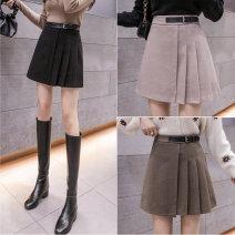 skirt Winter 2020 S,M,L,XL,2XL Black, khaki, deep khaki Short skirt commute High waist A-line skirt Solid color Type A 18-24 years old More than 95% polyester fiber zipper Korean version