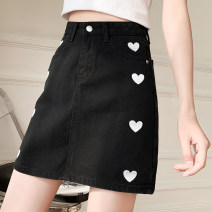 skirt Summer 2021 S,M,L,XL,2XL Off white , black , wathet Short skirt commute High waist A-line skirt other Type A 18-24 years old 51% (inclusive) - 70% (inclusive) cotton Embroidery Korean version