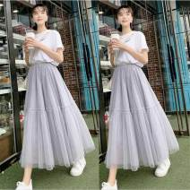 skirt Summer 2021 One size fits all, skirt length 76cm White, gray, black longuette Versatile High waist Pleated skirt Solid color Type A 18-24 years old 81% (inclusive) - 90% (inclusive) other Le Rongyuan polyester fiber Pleats, gauze, stitching
