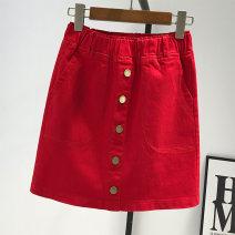 skirt Summer 2021 S,M,L,XL,2XL Red, ginger, black, white, green Short skirt commute High waist A-line skirt Solid color Type A 7-10 Denim Other / other Pockets, buttons, water Korean version