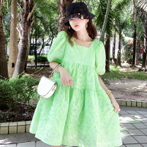Dress Summer 2020 green S,M,L,XL Mid length dress singleton  Short sleeve commute square neck High waist Solid color Socket Big swing puff sleeve Type A Bows, open backs, bandages five point two nine