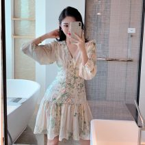 Dress Autumn 2020 Picture color S,M,L Short skirt singleton  Nine point sleeve commute V-neck High waist Solid color zipper A-line skirt puff sleeve Type A Fold, Auricularia auricula, stitching, zipper, printing eight point one one