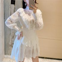 Dress Autumn 2020 white S,M,L Short skirt Two piece set Long sleeves commute stand collar High waist Solid color Socket A-line skirt bishop sleeve court Button, zipper, lace +6