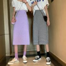 skirt Spring 2021 S,M,L Purple, green, black Mid length dress commute High waist A-line skirt lattice Type A 18-24 years old W0123 30% and below other Other / other Korean version