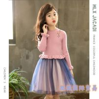 Dress Orange, yellow, green, pink, Pink Plush, orange plush, yellow plush, green plush female wlx jacadi 110cm,120cm,130cm,140cm,150cm,160cm Wool 80% others 20% spring and autumn princess Long sleeves other cotton A-line skirt Class B 2, 3, 4, 5, 6, 7, 8, 9, 10, 11, 12, 13, 14 years old