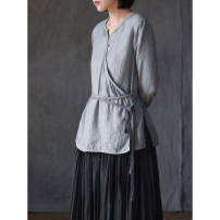 shirt Gray, silk, fabric / dyeing unconventional, please know before shooting S,M,L Autumn 2020 silk 96% and above Long sleeves Original design Medium length Crew neck routine Solid color QXW20302WCY-TS-PLANT-2-1001/7037 Frenulum silk