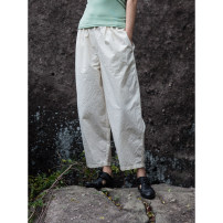 Casual pants Off white S,M,L Summer 2021 Cropped Trousers Pencil pants Natural waist original Thin money 96% and above cotton pocket cotton