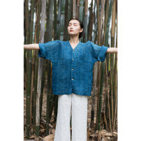 shirt Blue, indigo S,M,L Summer of 2019 hemp 96% and above Original design Regular Single row multi button 19SUM204