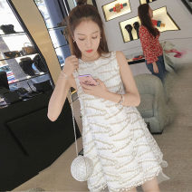 Dress Spring 2021 white S,M,L,XL Short skirt singleton  Short sleeve commute Crew neck High waist Broken flowers Socket A-line skirt routine Others 25-29 years old Type A Ocnltiy Korean version Embroidery, three-dimensional decoration, gauze net, zipper, swallow tail Chiffon modal