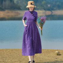 Dress Summer 2020 Purple, model matching accessories need to be purchased separately S,M,L,XL longuette singleton  Short sleeve commute stand collar Loose waist Decor Socket A-line skirt routine Others Type A Yingruyi language ethnic style C860 30% and below cotton