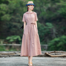 Dress Summer 2021 Pink, model matching accessories need to be purchased separately S,M,L,XL longuette singleton  Short sleeve commute Crew neck middle-waisted Solid color Socket A-line skirt routine Others Type A Yingruyi language ethnic style 51% (inclusive) - 70% (inclusive) cotton