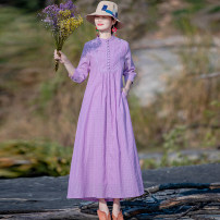 Dress Spring 2020 Purple, model matching accessories need to be purchased separately S,M,L,XL longuette singleton  three quarter sleeve commute stand collar Loose waist lattice Socket A-line skirt routine Others Type H Yingruyi language ethnic style Patch, pocket, button C102 hemp