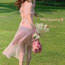 Dress Summer 2020 Pink S,M,L Mid length dress Two piece set Short sleeve commute Crew neck High waist Solid color Socket other routine camisole Type X lady Bowknot, diamond, open back, lace, bandage, gauze net