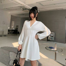 Dress Spring 2021 white S,M,L Short skirt singleton  Long sleeves street V-neck High waist Solid color Socket A-line skirt other Others 18-24 years old Type A INSGOTH Waistband 81% (inclusive) - 90% (inclusive) polyester fiber Europe and America