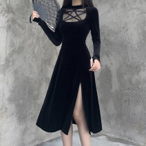 Dress Autumn 2020 black S,M,L Mid length dress singleton  Long sleeves street Half high collar High waist Solid color Socket Big swing routine Others 18-24 years old Type A INSGOTH Gouge, hollowing out, splicing, gauze 22355P More than 95% other polyester fiber