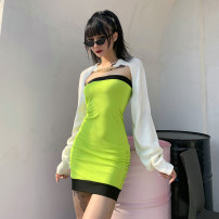 Dress Winter 2020 green S,M,L Short skirt singleton  Sleeveless street other High waist other Socket One pace skirt other Breast wrapping 18-24 years old Type H INSGOTH Open back, stitching 20059P 81% (inclusive) - 90% (inclusive) other polyester fiber