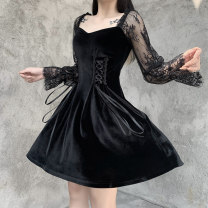 Dress Winter 2020 black S,M,L Short skirt singleton  Long sleeves street V-neck High waist Solid color Socket A-line skirt routine Others 25-29 years old Type A INSGOTH Lacing, stitching, strapping, lace 22444A 51% (inclusive) - 70% (inclusive) velvet polyester fiber