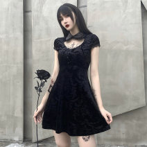 Dress Summer 2020 black S,M,L Short skirt singleton  Short sleeve street Doll Collar High waist other Socket A-line skirt other Others 18-24 years old Type A INSGOTH Hollowed out, Gouhua hollowed out, lace, printing 22184P 71% (inclusive) - 80% (inclusive) other cotton
