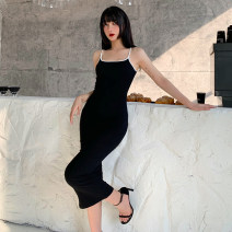 Dress Winter 2020 Black, white, gray, pink S,M,L Mid length dress singleton  Sleeveless street One word collar High waist Solid color Socket One pace skirt routine camisole 18-24 years old Type H INSGOTH backless 91% (inclusive) - 95% (inclusive) knitting polyester fiber Europe and America
