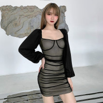 Dress Spring 2021 black S,M,L Short skirt singleton  Long sleeves street One word collar High waist Solid color Socket One pace skirt bishop sleeve Others 18-24 years old Type H INSGOTH Splicing, mesh 81% (inclusive) - 90% (inclusive) other polyester fiber Europe and America