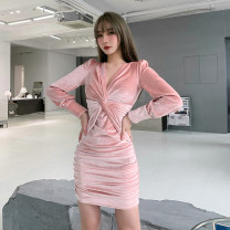 Dress Spring 2021 Black, pink S,M,L Short skirt singleton  Long sleeves street V-neck High waist Solid color Socket One pace skirt routine Others 18-24 years old Type H INSGOTH Fold, kink 25430G 81% (inclusive) - 90% (inclusive) velvet polyester fiber Europe and America